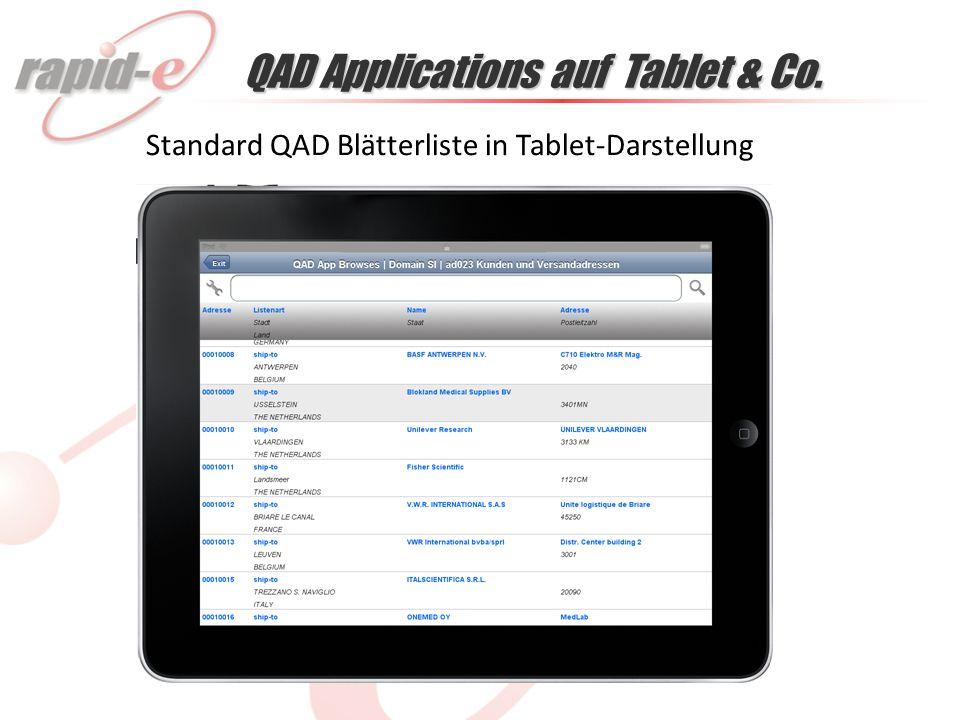 QAD Applications auf Tablet & Co. Standard QAD Blätterliste in Tablet-Darstellung
