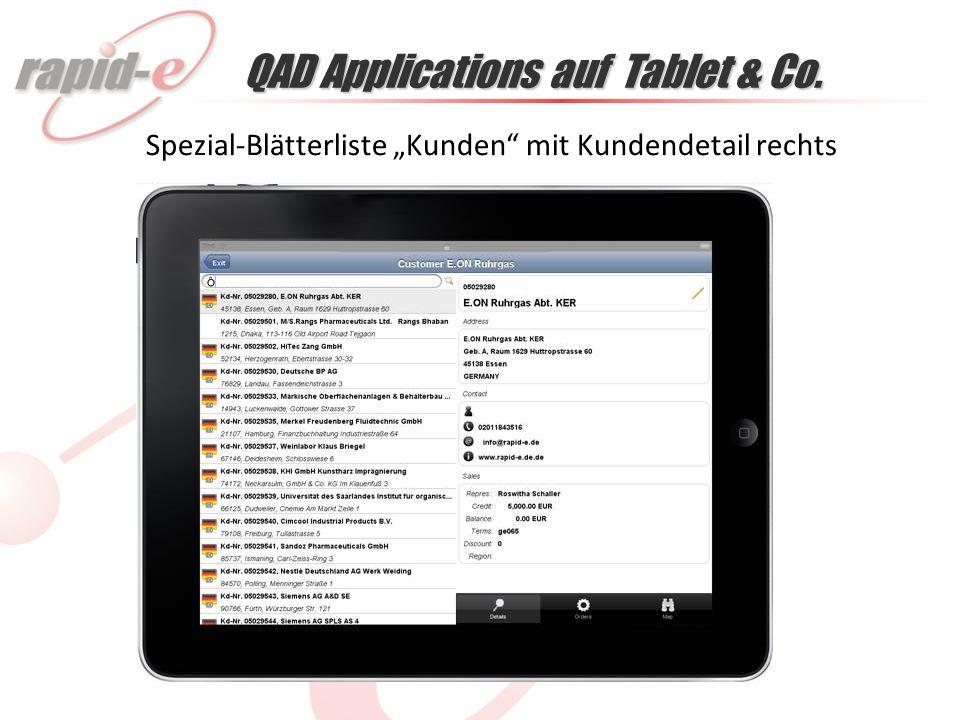 QAD Applications auf Tablet & Co. Spezial-Blätterliste Kunden mit Kundendetail rechts