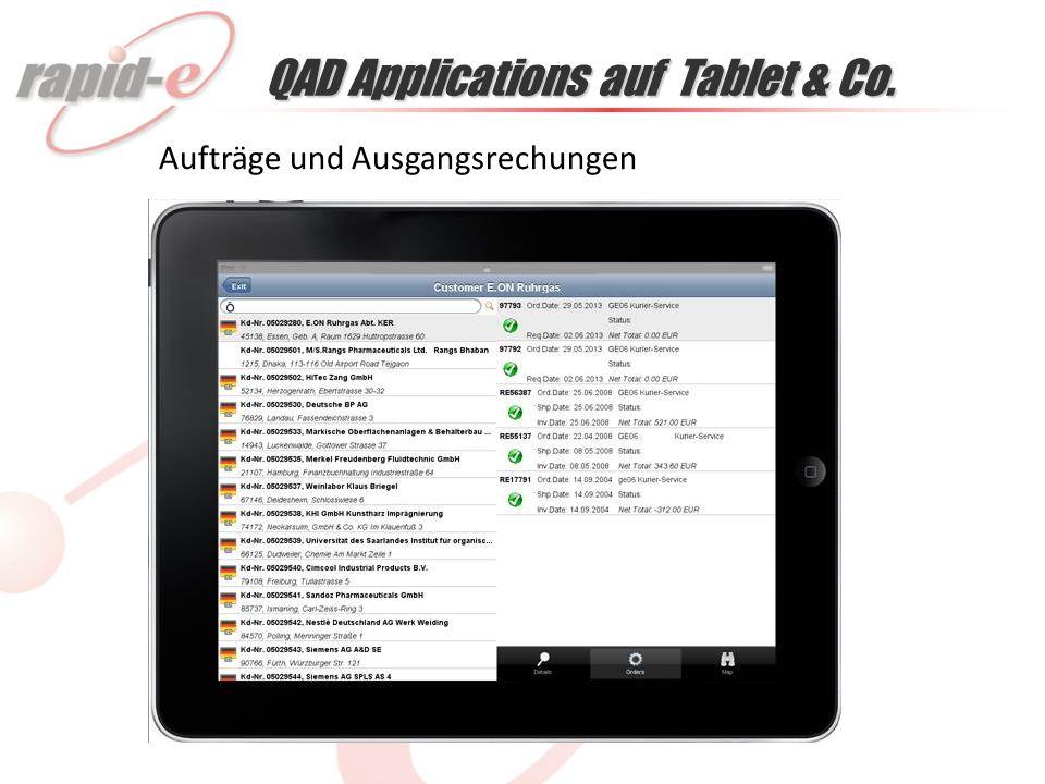 QAD Applications auf Tablet & Co. Aufträge und Ausgangsrechungen