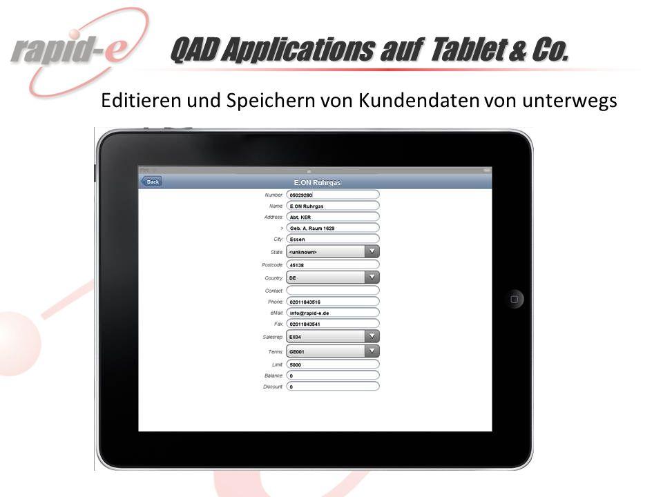 QAD Applications auf Tablet & Co. Detailansicht: Positionen eines Auftrages