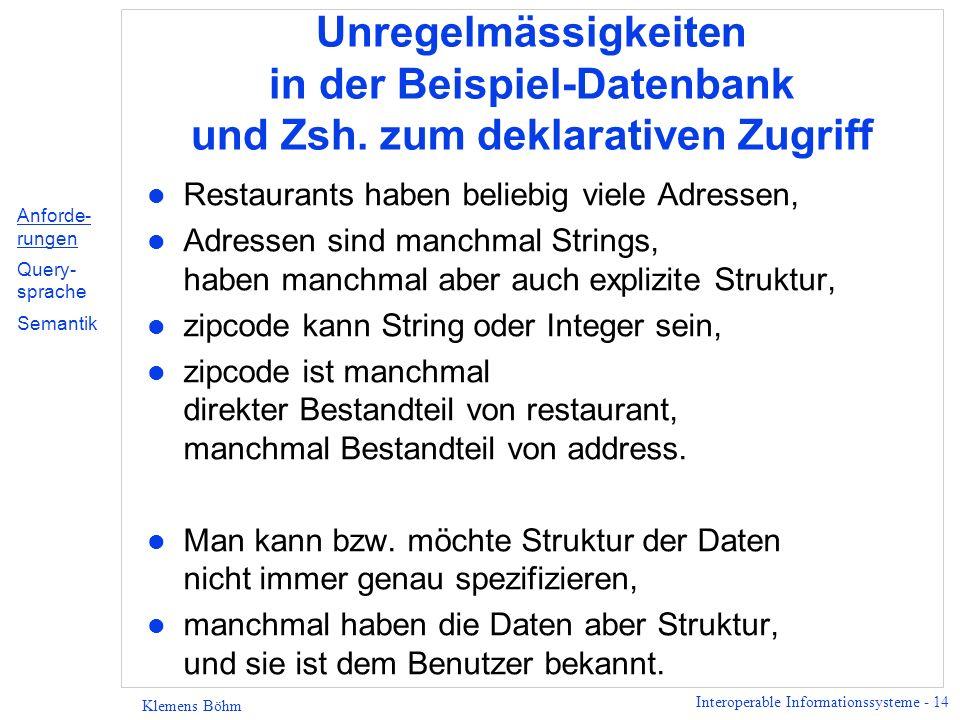 Interoperable Informationssysteme - 14 Klemens Böhm Unregelmässigkeiten in der Beispiel-Datenbank und Zsh. zum deklarativen Zugriff l Restaurants habe