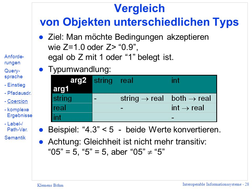 Interoperable Informationssysteme - 28 Klemens Böhm Vergleich von Objekten unterschiedlichen Typs l Ziel: Man möchte Bedingungen akzeptieren wie Z=1.0 oder Z> 0.9, egal ob Z mit 1 oder 1 belegt ist.