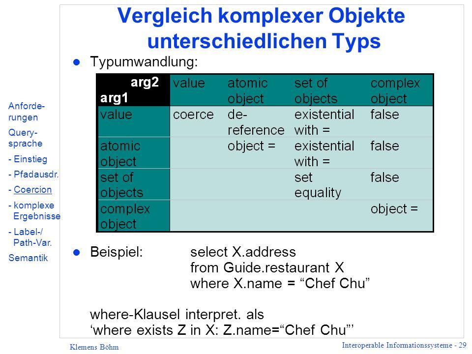 Interoperable Informationssysteme - 29 Klemens Böhm Vergleich komplexer Objekte unterschiedlichen Typs l Typumwandlung: l Beispiel: select X.address from Guide.restaurant X where X.name = Chef Chu where-Klausel interpret.
