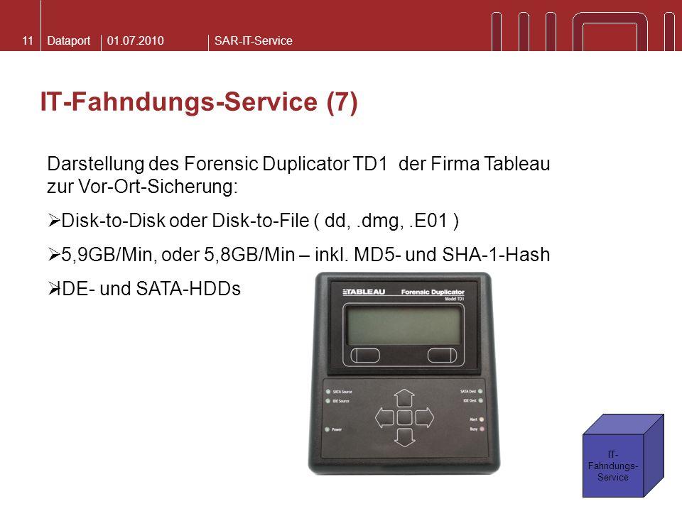 DataportSAR-IT-Service IT-Fahndungs-Service (7) 01.07.201011 Darstellung des Forensic Duplicator TD1 der Firma Tableau zur Vor-Ort-Sicherung: Disk-to-