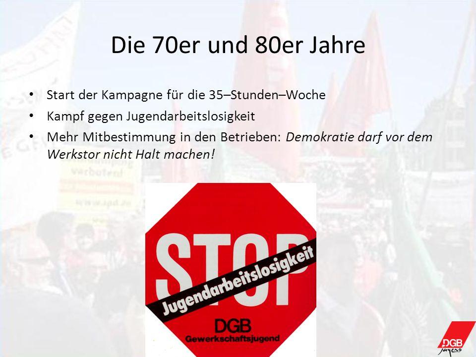 Die 70er und 80er Jahre Start der Kampagne für die 35–Stunden–Woche Kampf gegen Jugendarbeitslosigkeit Mehr Mitbestimmung in den Betrieben: Demokratie