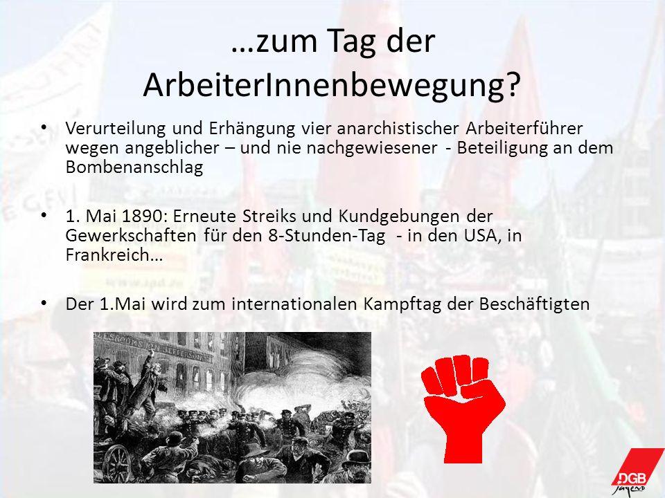 …zum Tag der ArbeiterInnenbewegung? Verurteilung und Erhängung vier anarchistischer Arbeiterführer wegen angeblicher – und nie nachgewiesener - Beteil