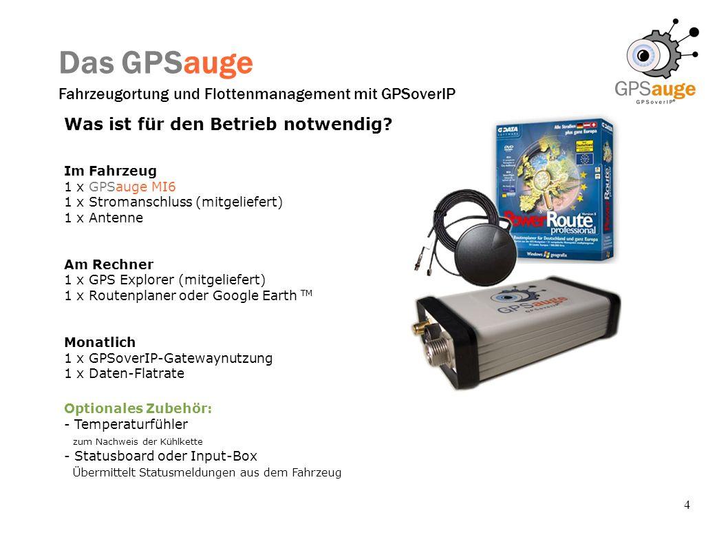 4 Das GPSauge Fahrzeugortung und Flottenmanagement mit GPSoverIP Was ist für den Betrieb notwendig? Im Fahrzeug 1 x GPSauge MI6 1 x Stromanschluss (mi