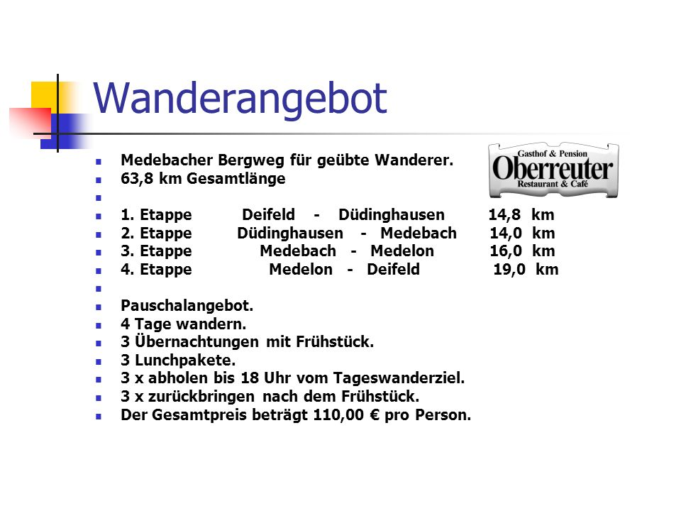 Wanderangebot Medebacher Bergweg für geübte Wanderer. 63,8 km Gesamtlänge 1. Etappe Deifeld - Düdinghausen 14,8 km 2. Etappe Düdinghausen - Medebach 1