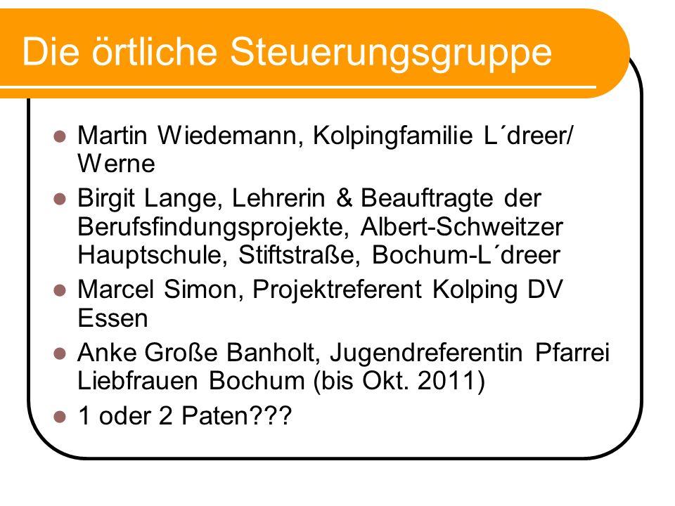 Die örtliche Steuerungsgruppe Martin Wiedemann, Kolpingfamilie L´dreer/ Werne Birgit Lange, Lehrerin & Beauftragte der Berufsfindungsprojekte, Albert-