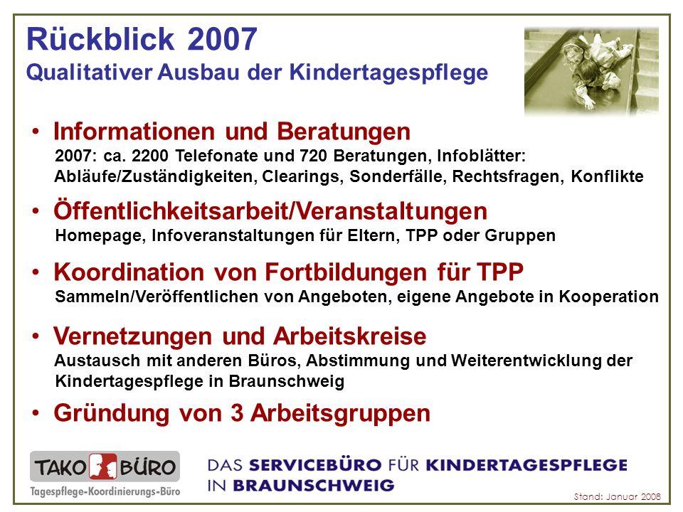 Rückblick 2007 Qualitativer Ausbau der Kindertagespflege Stand: Januar 2008 Informationen und Beratungen 2007: ca.