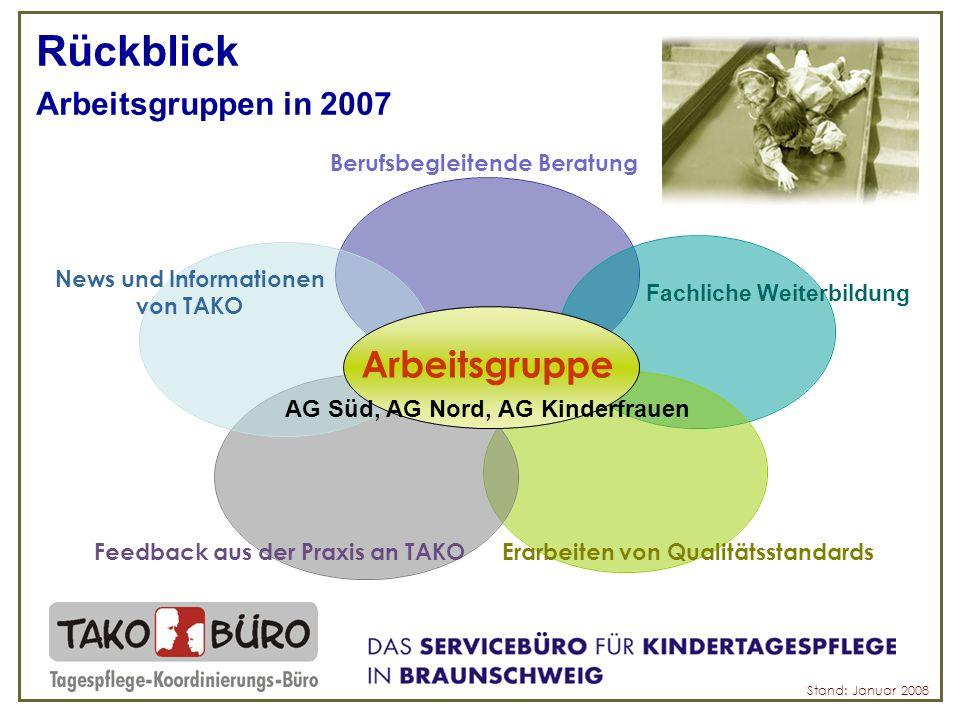 Rückblick Arbeitsgruppen in 2007 Arbeitsgruppe AG Süd, AG Nord, AG Kinderfrauen Stand: Januar 2008