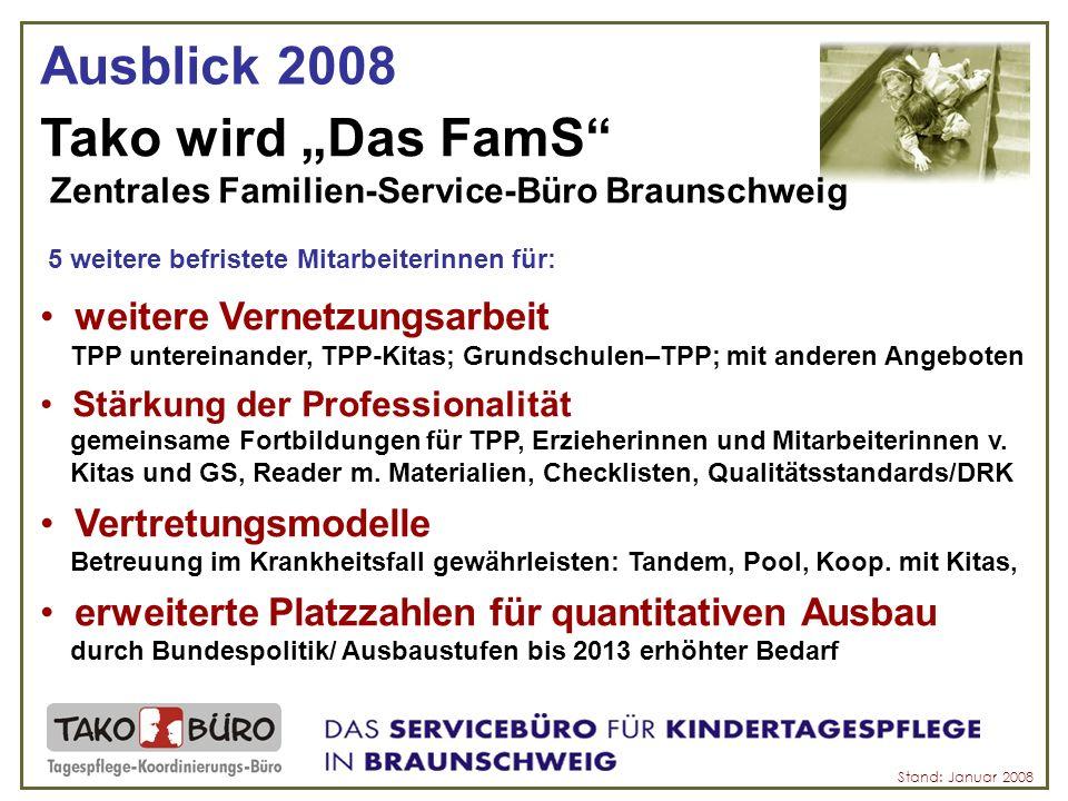 Das FamS Gleiche Zeit/gleicher Ort: - Öffnungszeiten: Montag bis Freitag 09:00 - 12:00 Uhr Dienstag und Donnerstag 15:00 - 18:00 Uhr - Vermittlungsbüro in der Brabandtstraße 5, 38100 Braunschweig - Telefon: 0531 / 9669 - 400 Fax: 0531 / 9669 - 401 Email: info@tako-buero.de später andereinfo@tako-buero.de Homepage: www.tako-buero.de später anderewww.tako-buero.de Neues Team: Angela Plentz (Stellenleitung)Anita Kolb (päd.