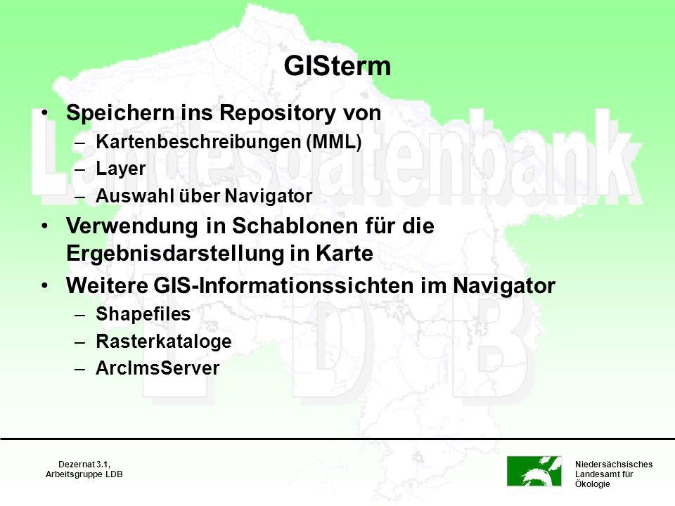 Niedersächsisches Landesamt für Ökologie Dezernat 3.1, Arbeitsgruppe LDB GISterm Speichern ins Repository von –Kartenbeschreibungen (MML) –Layer –Ausw