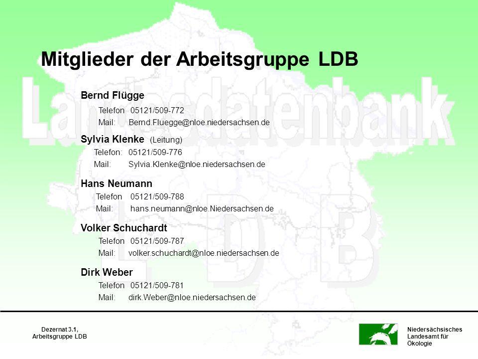 Niedersächsisches Landesamt für Ökologie Dezernat 3.1, Arbeitsgruppe LDB Mitglieder der Arbeitsgruppe LDB Bernd Flügge Telefon 05121/509-772 Mail: Ber