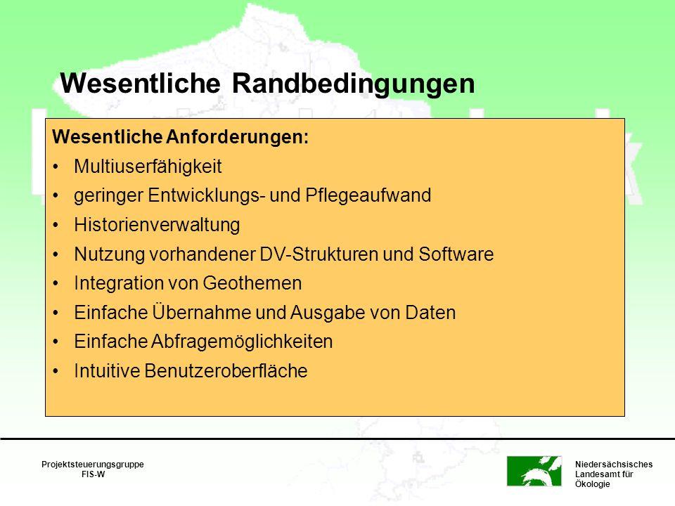 Niedersächsisches Landesamt für Ökologie Projektsteuerungsgruppe FIS-W Wesentliche Randbedingungen Nutzung vorhandener Netz- und Kommunikations- struk
