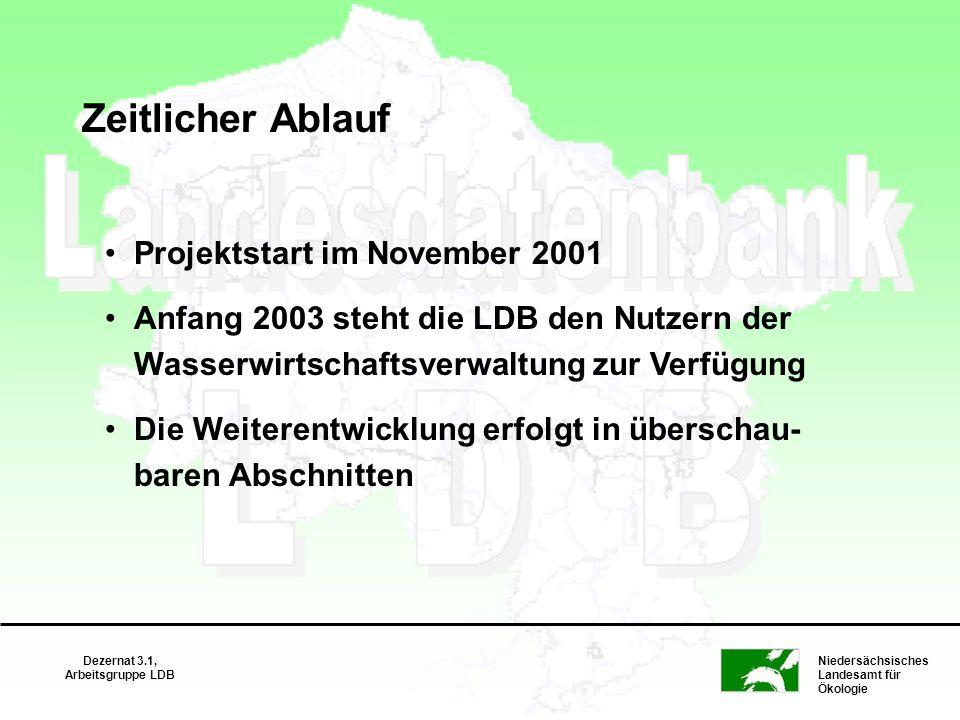 Niedersächsisches Landesamt für Ökologie Dezernat 3.1, Arbeitsgruppe LDB Zeitlicher Ablauf Projektstart im November 2001 Anfang 2003 steht die LDB den