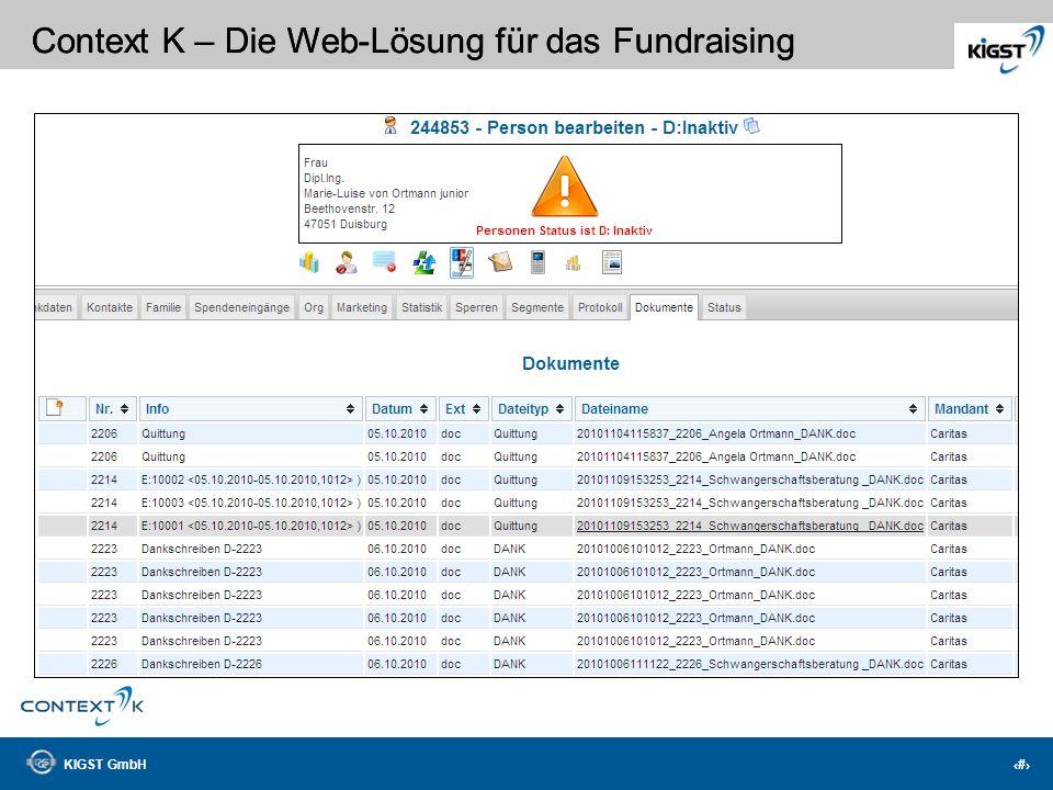 KIGST GmbH 4 Context K – Die Web-Lösung für das Fundraising