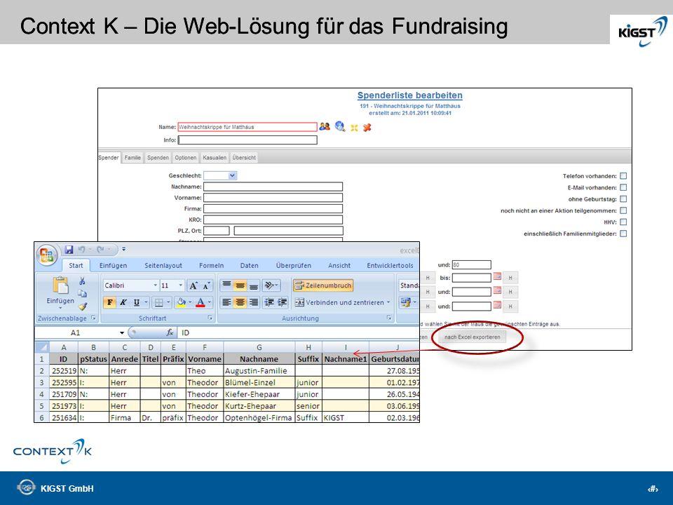 KIGST GmbH 7 Context K – Die Web-Lösung für das Fundraising