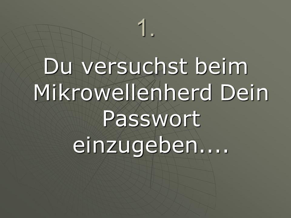 1. Du versuchst beim Mikrowellenherd Dein Passwort einzugeben....