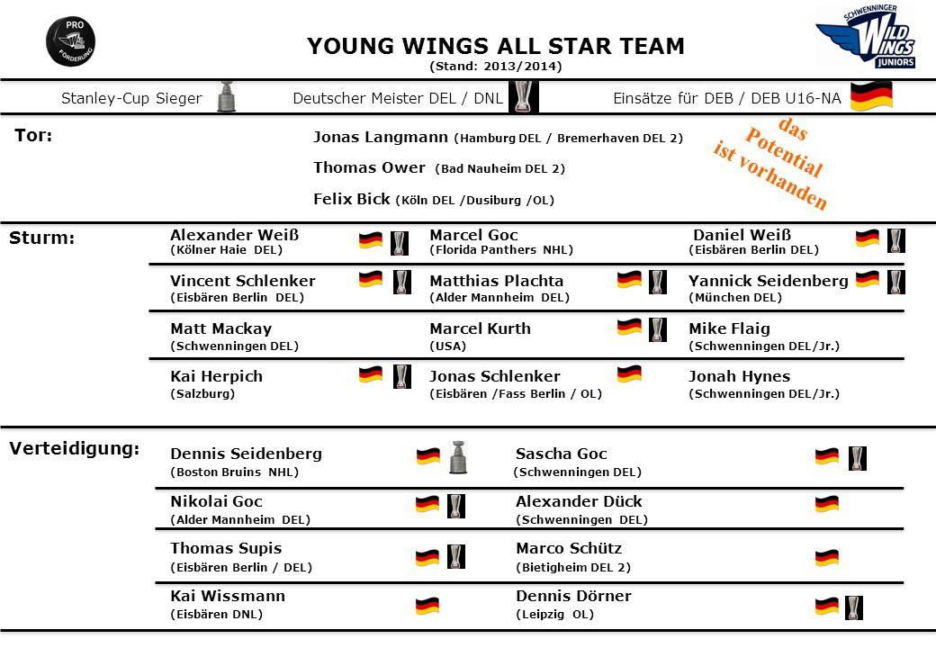 YOUNG WINGS ALL STAR TEAM (Stand: 2013/2014) Tor: Jonas Langmann (Hamburg DEL / Bremerhaven DEL 2) Thomas Ower (Bad Nauheim DEL 2) Felix Bick (Köln DE