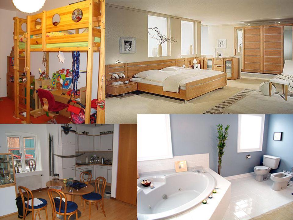 Gröβe der Wohnung Einzimmerwohnung (Einraumwohnung) Zweizimmerwohnung Dreizimmerwohnung Vierzimmerwohnung In was für einem Haus wohnst du.