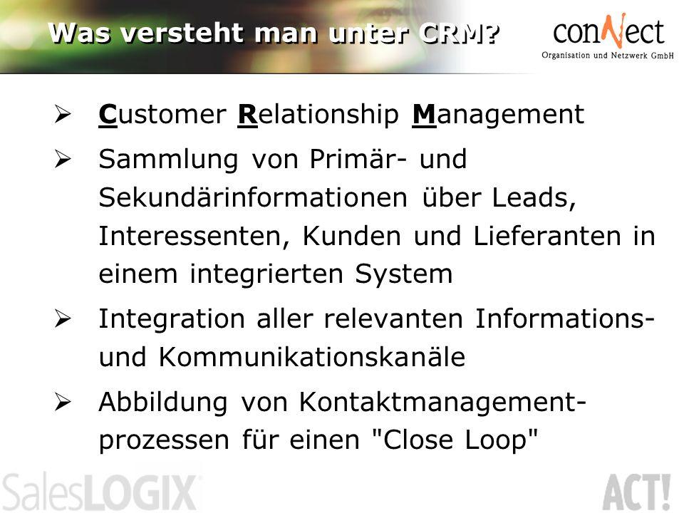 Was versteht man unter CRM? Customer Relationship Management Sammlung von Primär- und Sekundärinformationen über Leads, Interessenten, Kunden und Lief