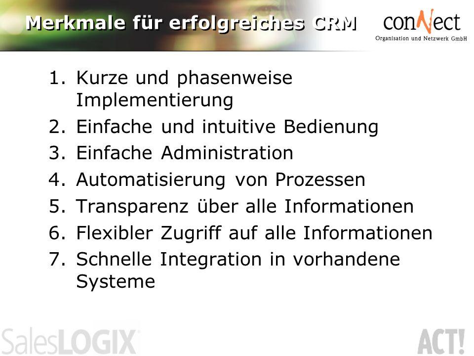 1.Kurze und phasenweise Implementierung 2.Einfache und intuitive Bedienung 3.Einfache Administration 4.Automatisierung von Prozessen 5.Transparenz über alle Informationen 6.Flexibler Zugriff auf alle Informationen 7.Schnelle Integration in vorhandene Systeme
