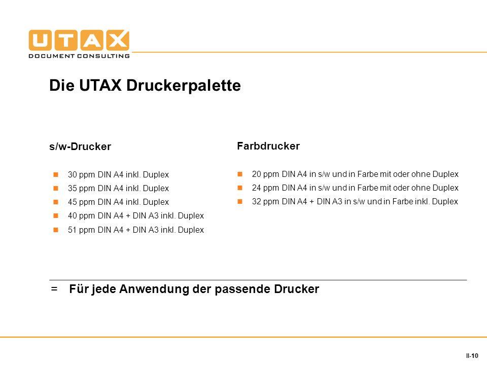 10 II-10 s/w-Drucker 30 ppm DIN A4 inkl. Duplex 35 ppm DIN A4 inkl. Duplex 45 ppm DIN A4 inkl. Duplex 40 ppm DIN A4 + DIN A3 inkl. Duplex 51 ppm DIN A