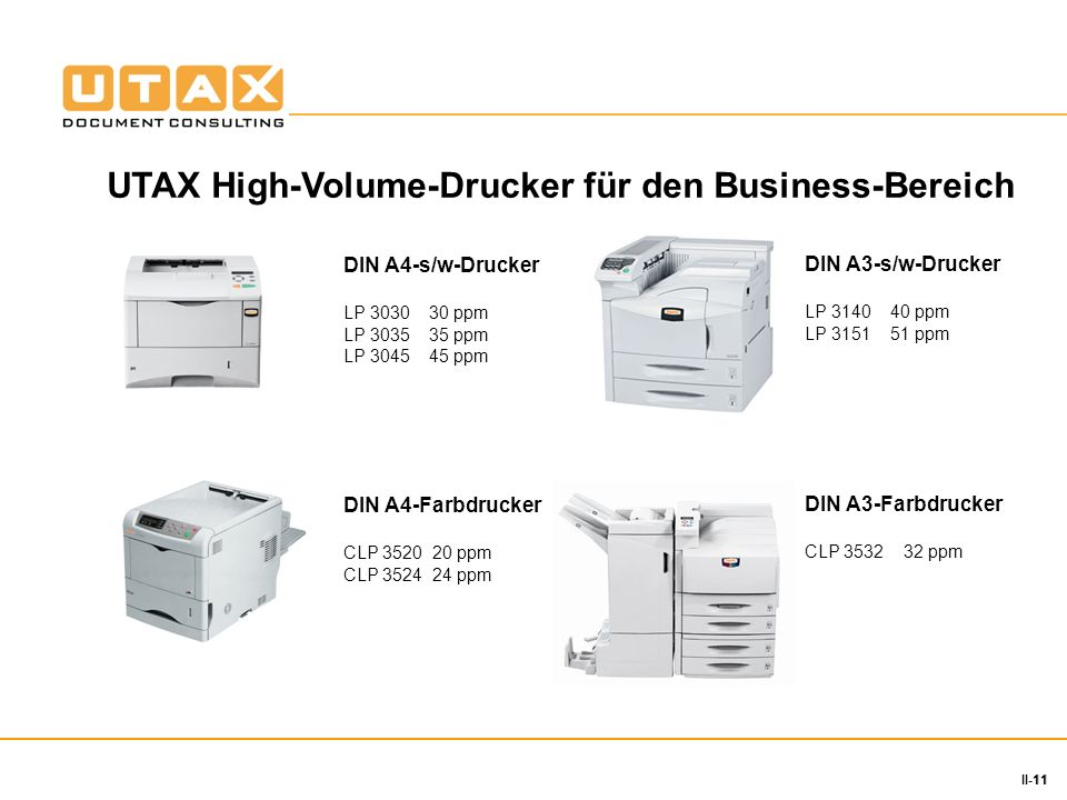 11 II-11 DIN A4-s/w-Drucker LP 3030 30 ppm LP 3035 35 ppm LP 3045 45 ppm DIN A3-s/w-Drucker LP 3140 40 ppm LP 3151 51 ppm DIN A4-Farbdrucker CLP 3520
