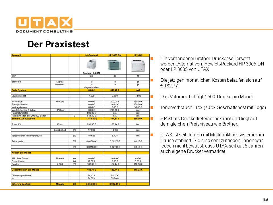 8 II-8 Ein vorhandener Brother-Drucker soll ersetzt werden. Alternativen: Hewlett-Packard HP 3005 DN oder LP 3035 von UTAX Die jetzigen monatlichen Ko