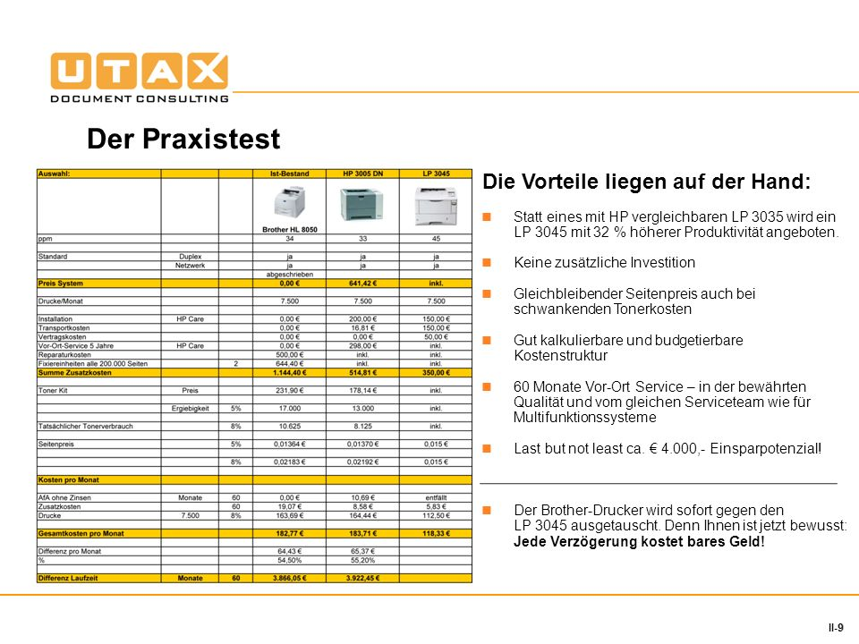 9 II-9 Statt eines mit HP vergleichbaren LP 3035 wird ein LP 3045 mit 32 % höherer Produktivität angeboten. Keine zusätzliche Investition Gleichbleibe