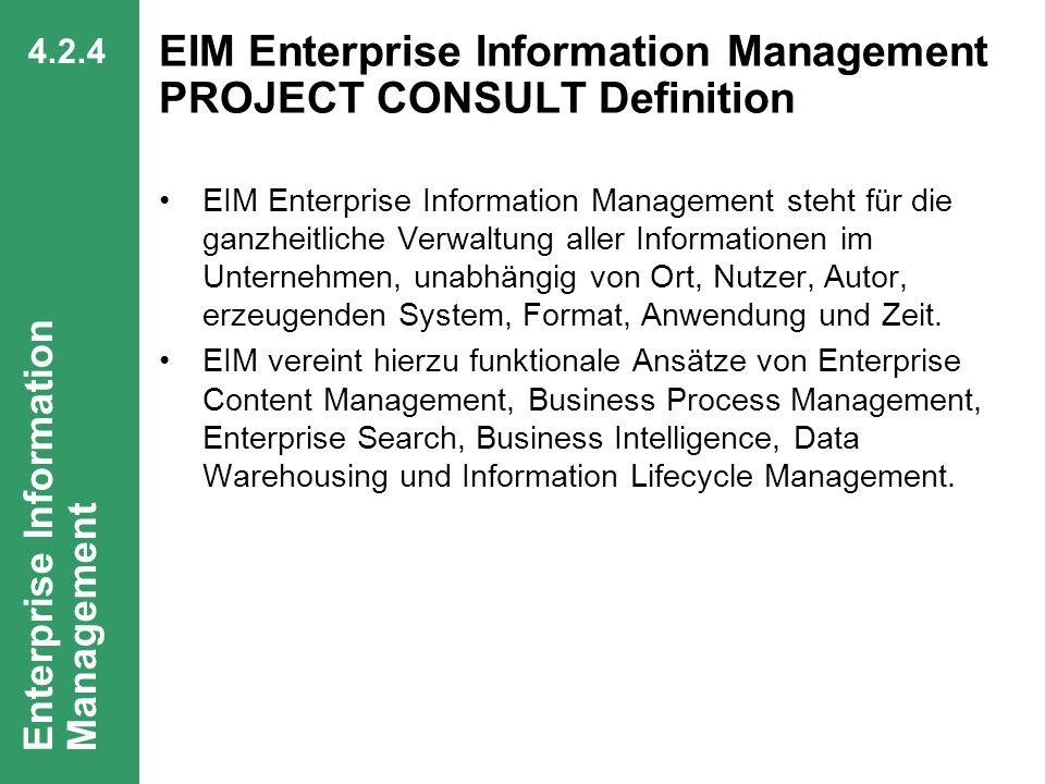 63 CIO Dialog Von ECM zu EIM Dr. Ulrich Kampffmeyer PROJECT CONSULT Unternehmensberatung Dr. Ulrich Kampffmeyer GmbH Breitenfelder Straße 17 20251 Ham