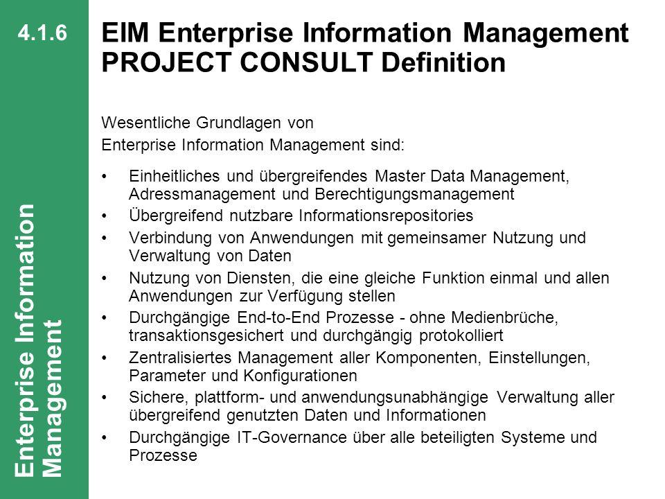 64 CIO Dialog Von ECM zu EIM Dr. Ulrich Kampffmeyer PROJECT CONSULT Unternehmensberatung Dr. Ulrich Kampffmeyer GmbH Breitenfelder Straße 17 20251 Ham