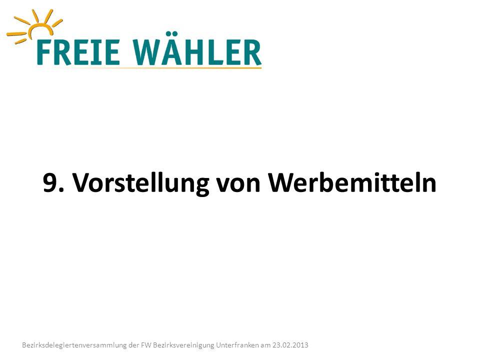 9. Vorstellung von Werbemitteln Bezirksdelegiertenversammlung der FW Bezirksvereinigung Unterfranken am 23.02.2013