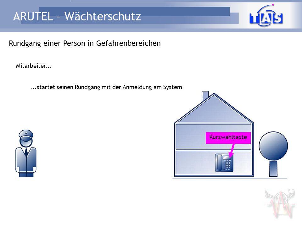 ARUTEL – Wächterschutz Rundgang einer Person in Gefahrenbereichen...startet seinen Rundgang mit der Anmeldung am System. Mitarbeiter... Kurzwahltaste