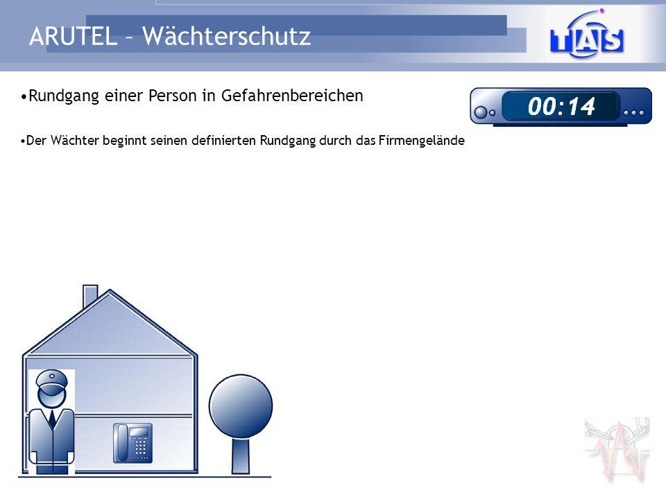 ARUTEL – Wächterschutz Rundgang einer Person in Gefahrenbereichen Der Wächter registriert sich an jedem Telefon