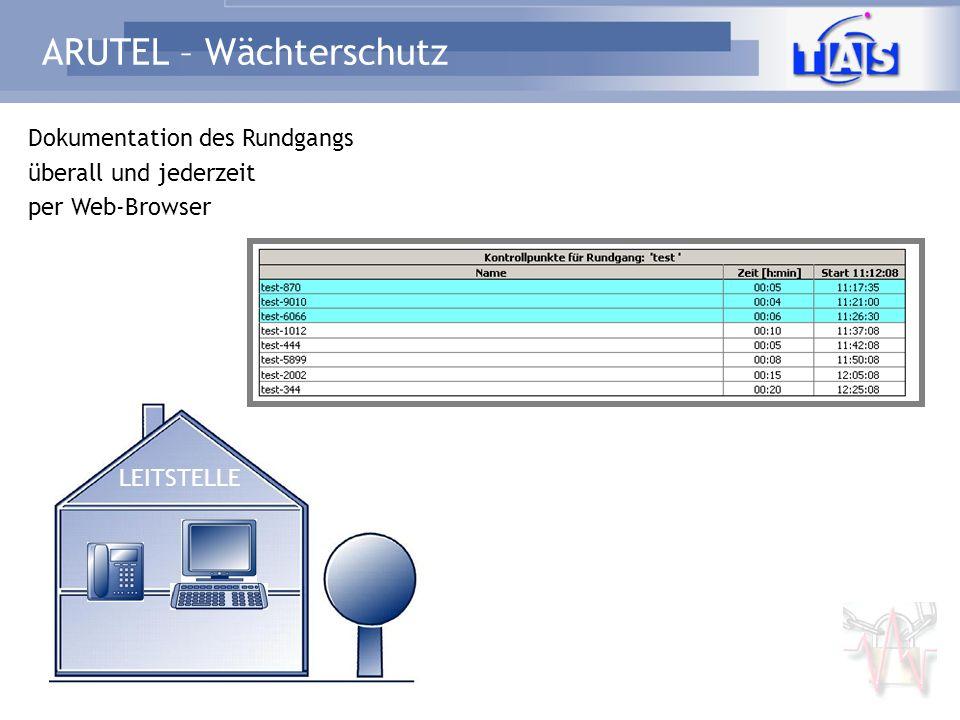 ARUTEL – Wächterschutz Dokumentation des Rundgangs überall und jederzeit per Web-Browser LEITSTELLE