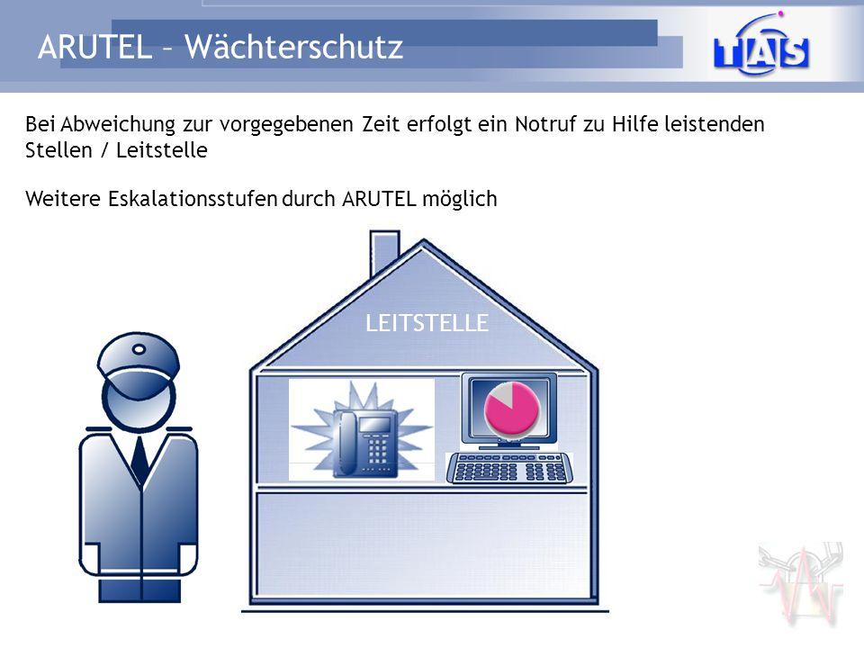 ARUTEL – Wächterschutz LEITSTELLE Bei Abweichung zur vorgegebenen Zeit erfolgt ein Notruf zu Hilfe leistenden Stellen / Leitstelle Weitere Eskalations
