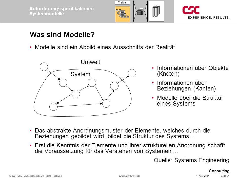 SAQ RE 040401.ppt Consulting © 2004 CSC, Bruno Schenker. All Rights Reserved.Seite 211. April 2004 Was sind Modelle? Modelle sind ein Abbild eines Aus