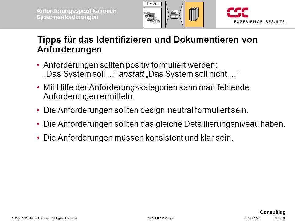 SAQ RE 040401.ppt Consulting © 2004 CSC, Bruno Schenker. All Rights Reserved.Seite 291. April 2004 Tipps für das Identifizieren und Dokumentieren von