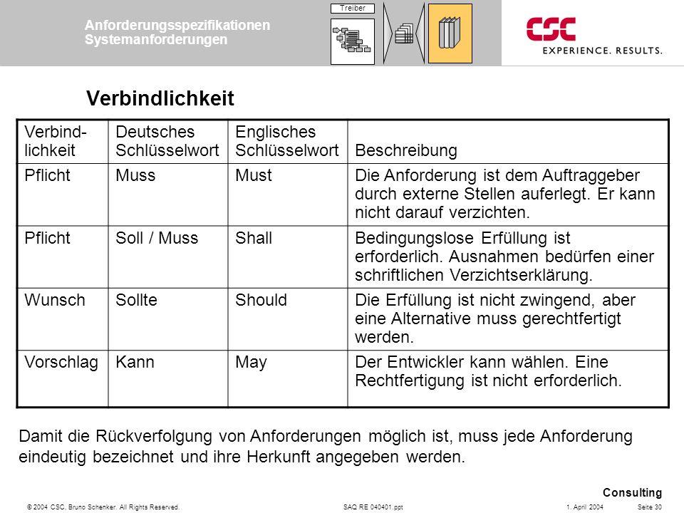 SAQ RE 040401.ppt Consulting © 2004 CSC, Bruno Schenker. All Rights Reserved.Seite 301. April 2004 Verbindlichkeit Damit die Rückverfolgung von Anford