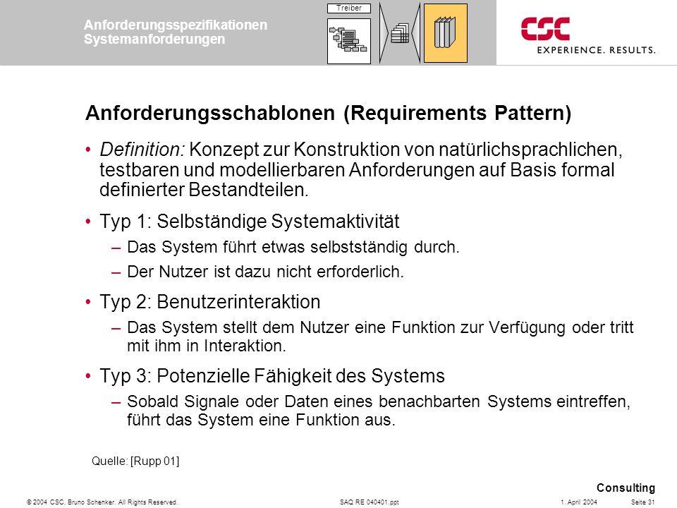 SAQ RE 040401.ppt Consulting © 2004 CSC, Bruno Schenker. All Rights Reserved.Seite 311. April 2004 Anforderungsschablonen (Requirements Pattern) Defin