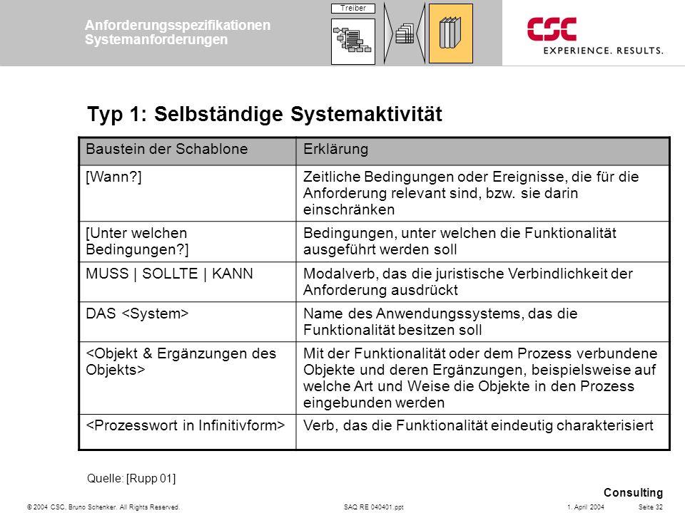 SAQ RE 040401.ppt Consulting © 2004 CSC, Bruno Schenker. All Rights Reserved.Seite 321. April 2004 Typ 1: Selbständige Systemaktivität Baustein der Sc