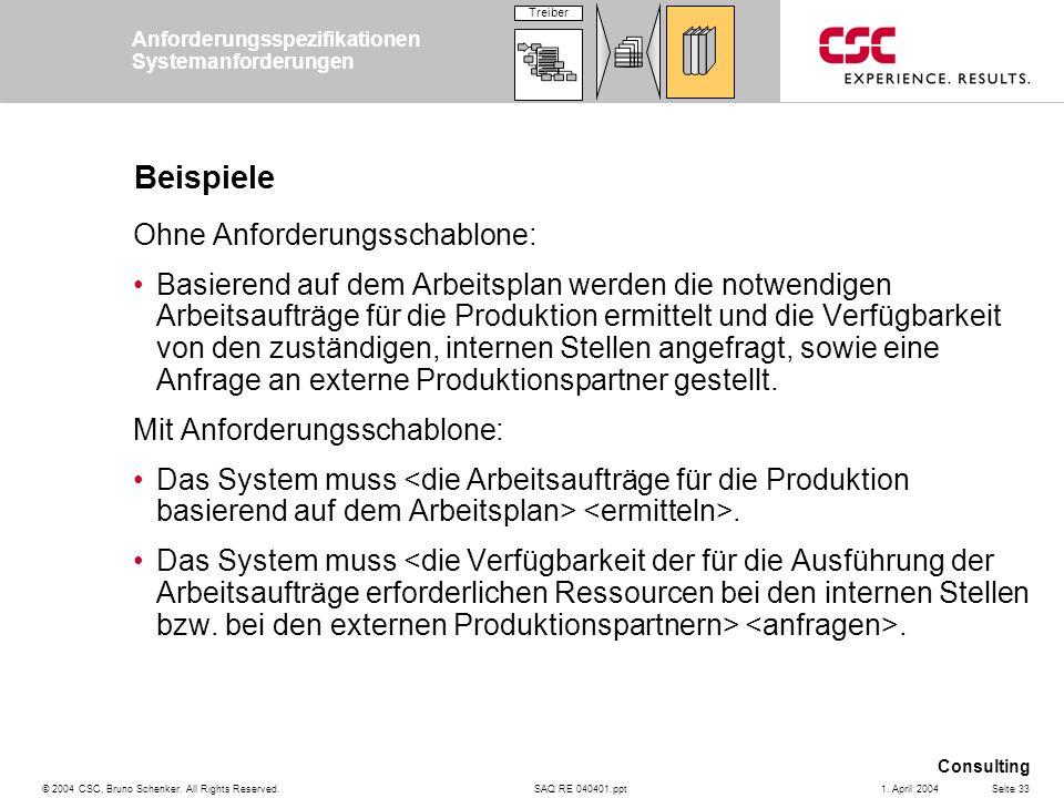 SAQ RE 040401.ppt Consulting © 2004 CSC, Bruno Schenker. All Rights Reserved.Seite 331. April 2004 Beispiele Ohne Anforderungsschablone: Basierend auf