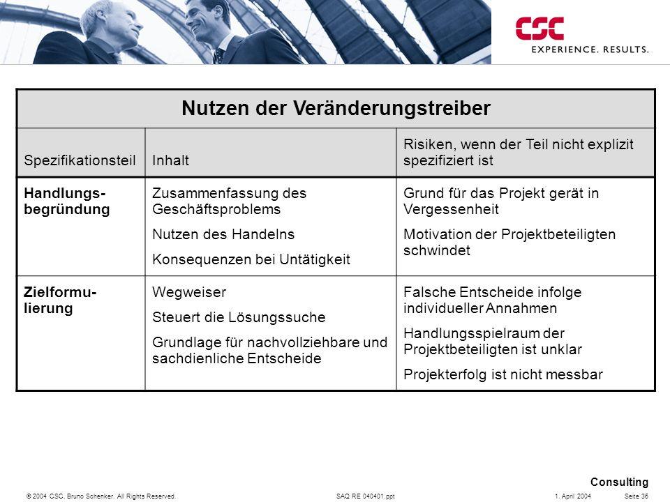 SAQ RE 040401.ppt Consulting © 2004 CSC, Bruno Schenker. All Rights Reserved.Seite 361. April 2004 Nutzen der Veränderungstreiber SpezifikationsteilIn
