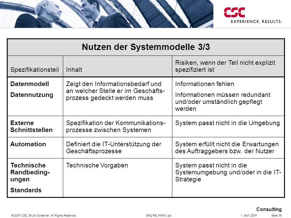 SAQ RE 040401.ppt Consulting © 2004 CSC, Bruno Schenker. All Rights Reserved.Seite 391. April 2004 Nutzen der Systemmodelle 3/3 SpezifikationsteilInha