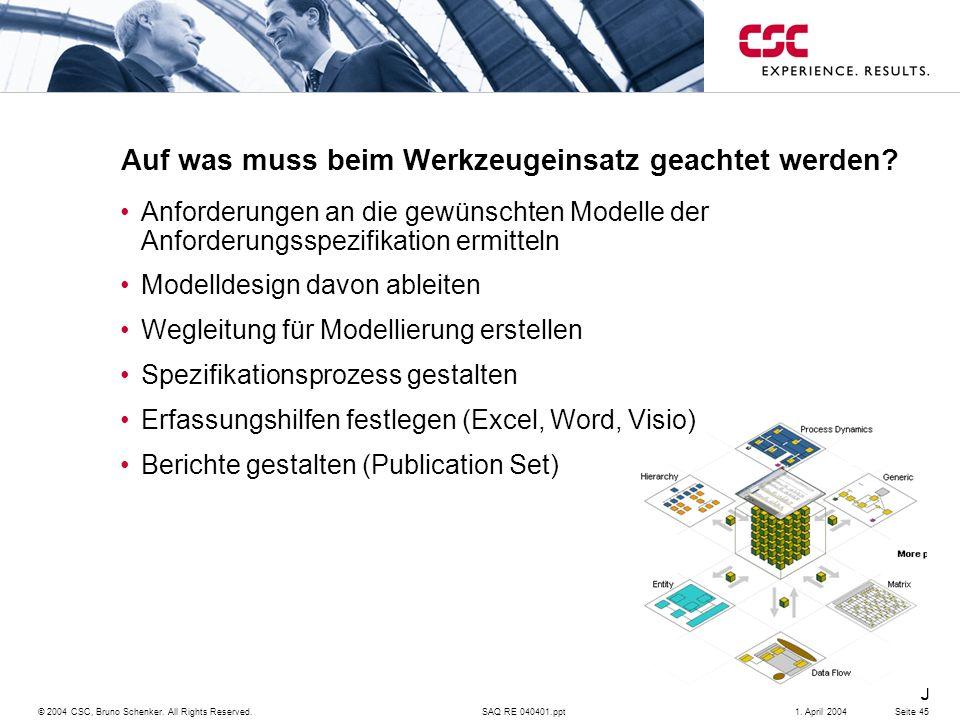 SAQ RE 040401.ppt Consulting © 2004 CSC, Bruno Schenker. All Rights Reserved.Seite 451. April 2004 Auf was muss beim Werkzeugeinsatz geachtet werden?