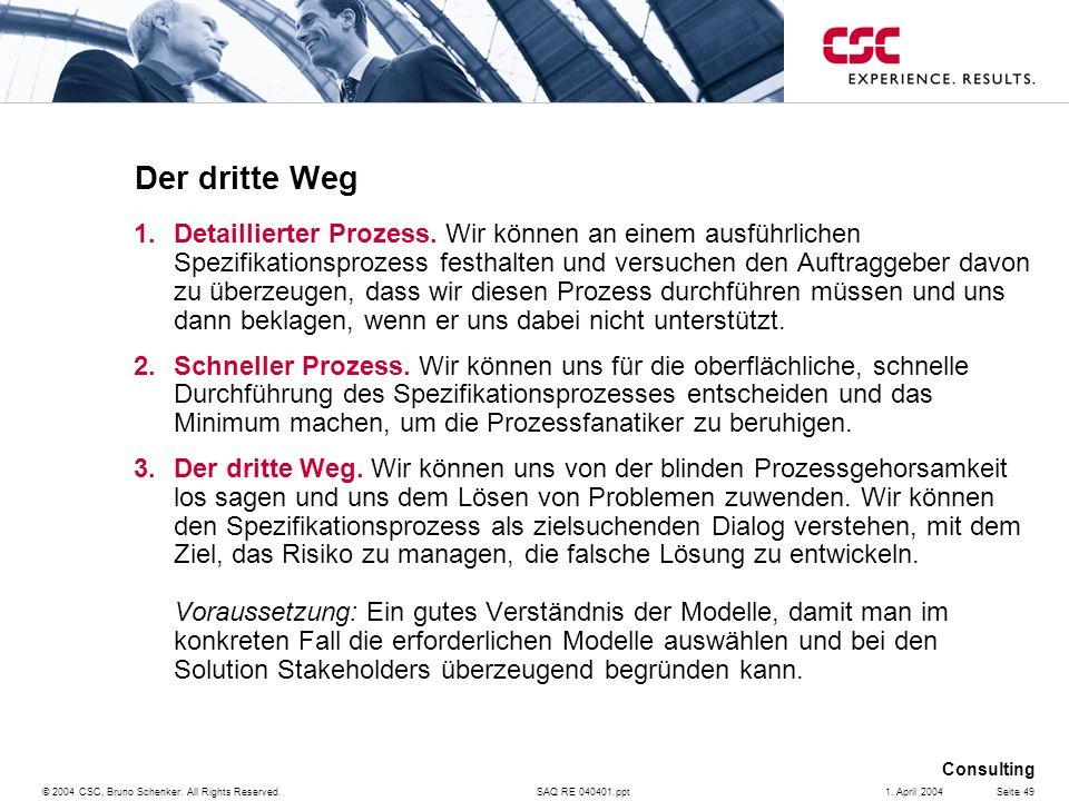 SAQ RE 040401.ppt Consulting © 2004 CSC, Bruno Schenker. All Rights Reserved.Seite 491. April 2004 Der dritte Weg 1.Detaillierter Prozess. Wir können
