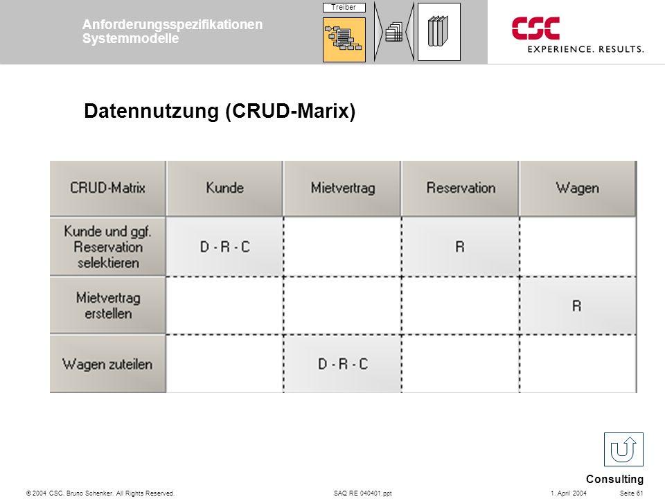 SAQ RE 040401.ppt Consulting © 2004 CSC, Bruno Schenker. All Rights Reserved.Seite 611. April 2004 Datennutzung (CRUD-Marix) Anforderungsspezifikation