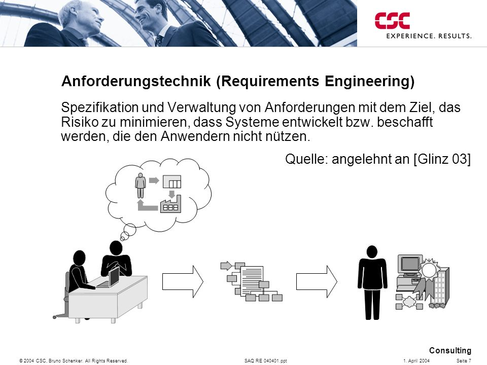 SAQ RE 040401.ppt Consulting © 2004 CSC, Bruno Schenker.